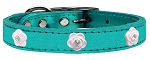 Light Pink Rose Widget Genuine Metallic Leather Dog Collar Turquoise 22